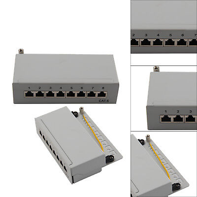 8 Port RJ45 CAT6 Desktop Patchpanel Patchfeld LSA 250MHz STP 5GB geschirmt grau