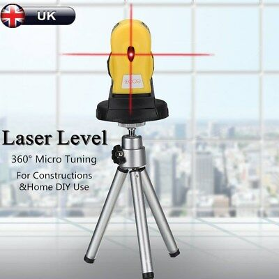 360° Rotary Laser Level Micro Tuning Cross Line Measuring Tool & Tripod Stand UK