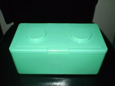 Large Light Green Lego Shaped Stackable Storage Container -Buttons,lace,thread