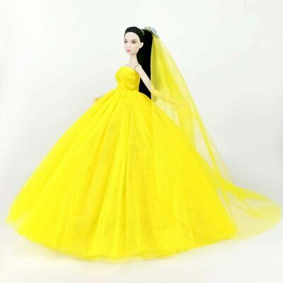 Light Yellow Doll Dress For Barbie Clothes Evening Gown Wedding Toy