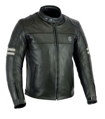 Rksports Speed -5 Mens Retro Leather Motorcycle  Jacket with Armour