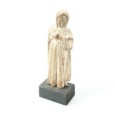 """EARLY 19th CENTURY HAND CARVED SPANISH COLONIAL 12"""" SANTOS FIGURINE - MADONNA"""