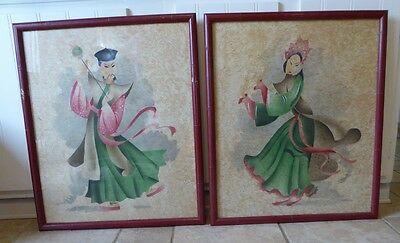 Matched Pair Of Vtg Chinese Water Color Paintings Framed Signed Beautiful Color