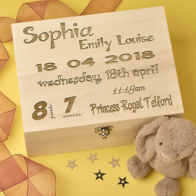 Personalised Laser Engraved Wooden Keepsake, Memory Box - Birth