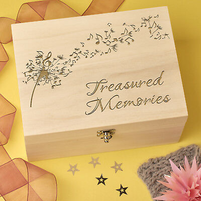 Personalised Laser Engraved Wooden Keepsake, Memory Box - Dandelion Design