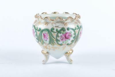 GORGEOUS ANTIQUE HAND PAINTED NIPPON FOOTED SUGAR BOWL - CA 1891 to 1911