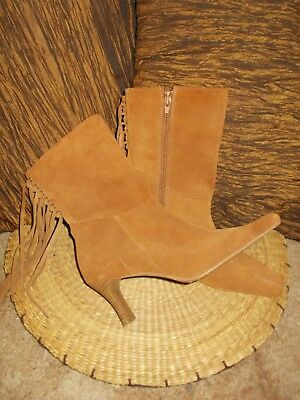 Vintage Caramel Tan Brown Suede Leather Tassle Ankle Boots Size 7 - 7 1/2 Candy