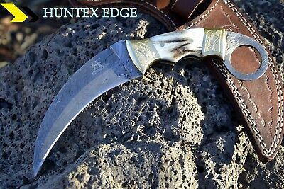 "HUNTEX Handmade Damascus 9"" Long Full Tang Deer Antler Karambit Knife w/ Sheath"