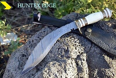 "HUNTEX Handmade Damascus 15"" Long Full Tang Camel Bone Hunting Kukri Knife"