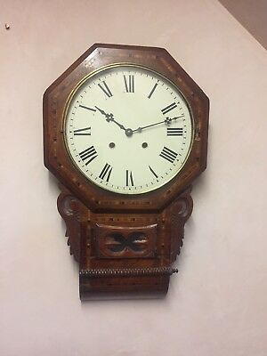 "American Victorian Drop Dial Inlaid Walnut Striking Movement Wall Clock GOW 28""L"
