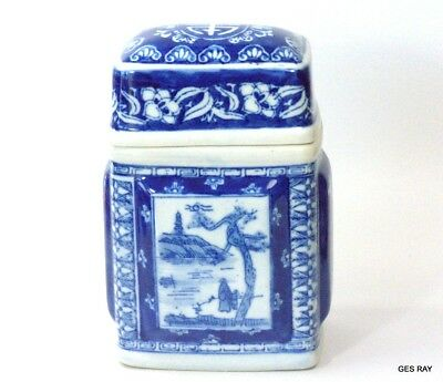 Blue White Square Porcelain Jar Covered  Antique Chinese Stamp