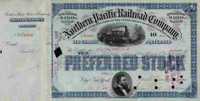 Northern Pacific Railroad 1886 Ashland Seattle Portland Blue 10 Shares Oregon
