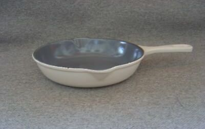 Vintage Le Creuset Enameled Cast Iron Double Pour White Skillet #20 Free Ship