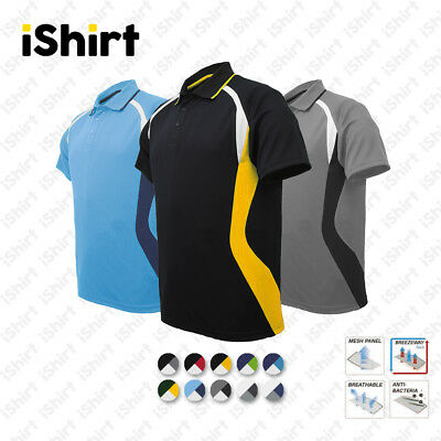 Mens Polo Shirt 100% Polyester Cool Dry Breathable Sports Panel Polo