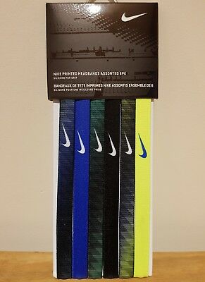 NIKE Printed Headbands Assorted 6PK / One Size , 6 Colors