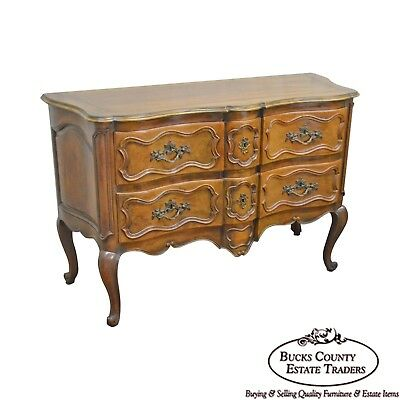 Baker French Louis XV Style Walnut 2-Drawer Serpentine Commode Chest