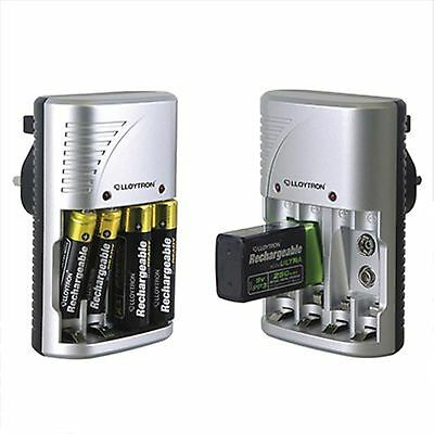 NEW Lloytron Mains BATTERY CHARGER | for AA, AAA or 9V PP3 Battery B1502