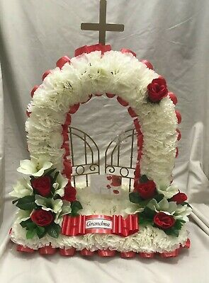 Gates of Heaven Artificial Silk Funeral Flower Memorial Tribute Wreath Nana Mum