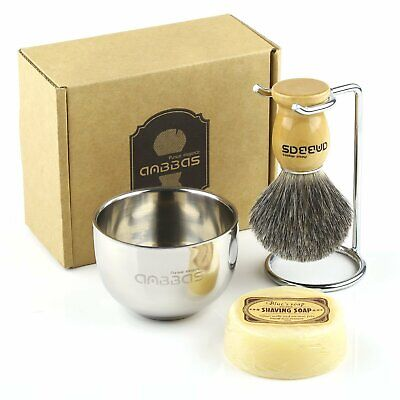 Anbbas Badger Kit Shave Brush+Stainless Steel Shaving Stand+Shaving Bowl+Soap