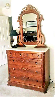 Antique Walnut Marble Dresser Top Chest of Drawers with 5 Drawers & Mirror