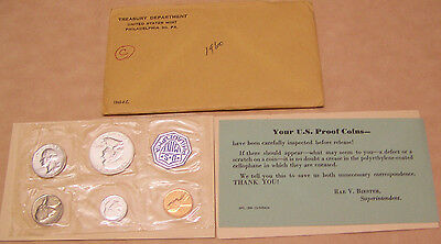 1960  US Mint 5 PC  Silver Coin Proof Set with COA