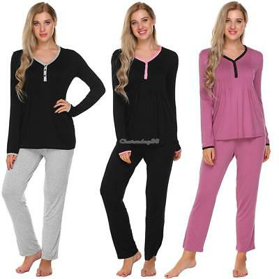 Women Solid V-Neck Long Sleeve Tops with Elastic Waist Long Pants Pajama C1MY