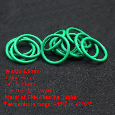 10/50pcs 1.5mm Oil Resistant FKM Viton Seal Fluorine Rubber  O-Ring OD 5-23mm