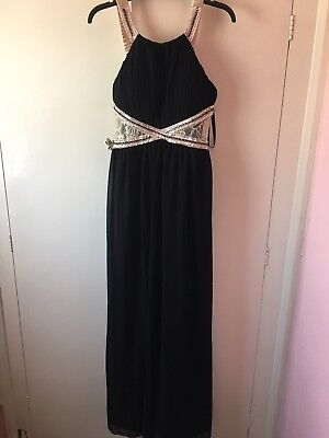 Womens long prom style ball dress gold and black size 14