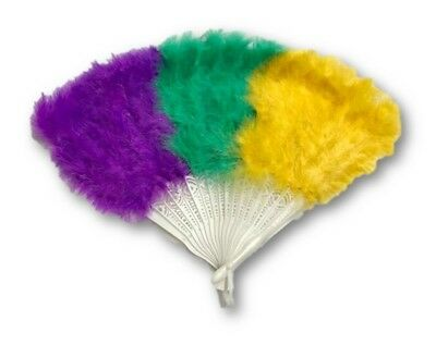 Mardi Gras Fan Purple Green Gold Marabou Feather Fat Tuesday Party Accessory New