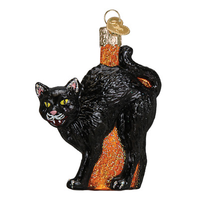 """Scaredy Cat"" (26080)X Old World Christmas Glass Ornament w/OWC Box"