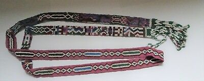 Hand made Glass seed Beaded tie or hat decor  Indian Native