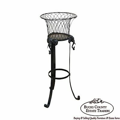 Victorian Wrought Iron Black Plant Stand w/ Elephant Heads