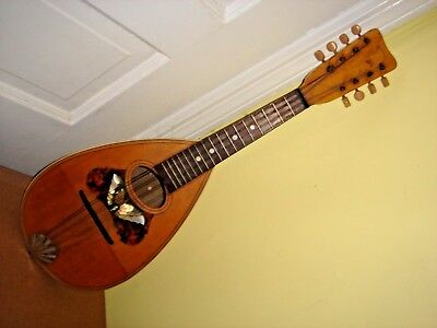 Beautiful Antique Mandolin 8 String Lyon Healy Chicago  Ornate Butterfly Inlay