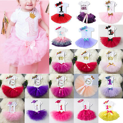 1st Birthday Girl Baby Princess Dress Outfit Romper Tutu Skirt Headband 3pcs Set