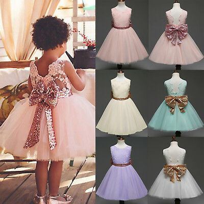 Flower Girls Baby Princess Sequins Bow Wedding Party Bridesmaid Lace Tutu Dress