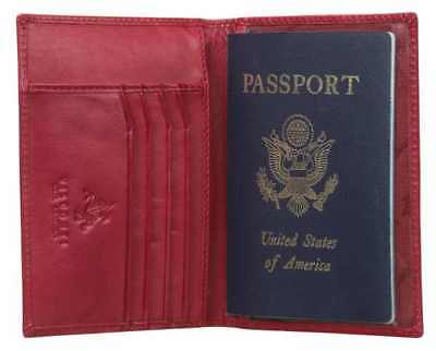 Visconti 2201 Red Leather Passport Protector Cover Case Holder ID Travel Wallet