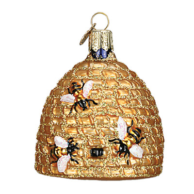 """Bee Skep"" (12391)X Old World Christmas Glass Ornament w/ OWC Box"
