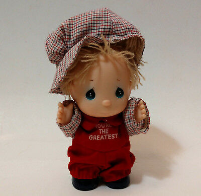 """Precious Moments doll """"you're the greatest"""" boy doll in red and plaid"""