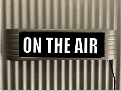 """""""ON THE AIR"""" Warning Light Up lighted Flashing Studio Sign Brushed Steel Look"""