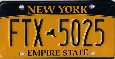Old New York Empire State License Plate # Ftx 5025   Bcplateman Blue And Gold