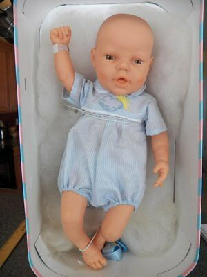 Vintage BERJUSA Baby Boy Newborn Doll NEW IN BOX~Birth Certificate & ID Bracelet