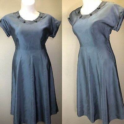 XL Vintage 1940s Satin Beaded Illusion Day Dress Short Sleeve WWII Plus Size VLV