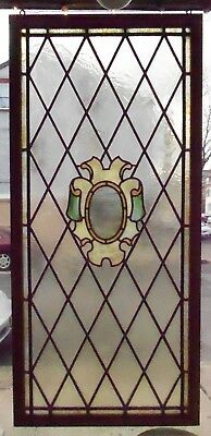 Large Old Stained Leaded Glass Window w Center Crest in Wood Frame Ready to Hang