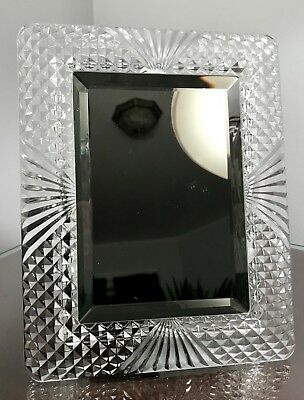 Cut Glass Crystal Frame Vanity Mirror Art Deco Hollywood Regency