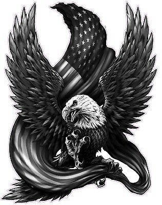 """American bald Eagle american flag Black & White Decal X Large 20"""" Free Shipping"""