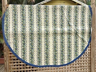 REDUCED VINTAGE—XLG HEAVY Cotton Table Cloth—Oval Crocheted Fringe RETRO KITSCH