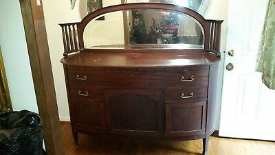Antique Buffet With Mirror >> Antique Buffet Sideboard Server Cabinet W Mirror Storage