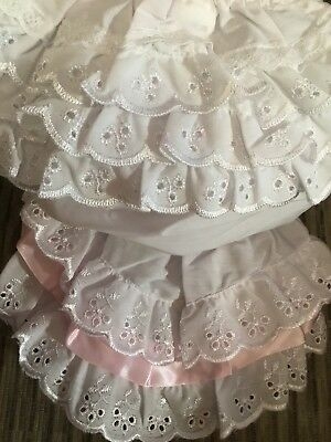 Baby Girl White Lace Frilly Pants Knickers Christening 0-6 6-12 12-18 Mths Pink