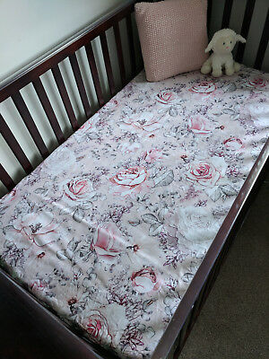 300TC Boori Cot Sheet,chic vintage pink bloom floral fitted sheet nursery decor