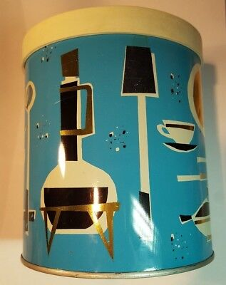 Mid Century Modern MCM Atomic Procter and Gamble Blue Crisco Canister Can Jar